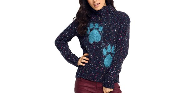 Dámsky tmavo modrý sveter s rolákom ARS Collection