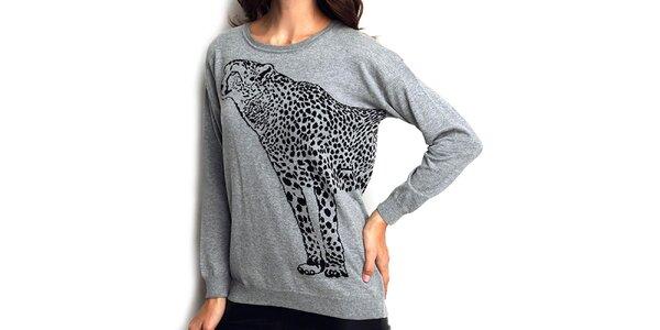 Dámsky šedý sveter s gepardom ARS Collection