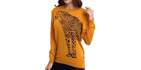 Dámsky oranžový sveter s gepardom ARS Collection