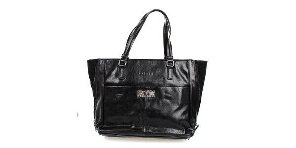 Dámska čierna lesklá kabelka Sisley