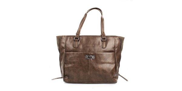 Dámska hnedá lesklá kabelka Sisley