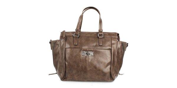 Dámska hnedá lesklá kabelka Sisley so zipsami