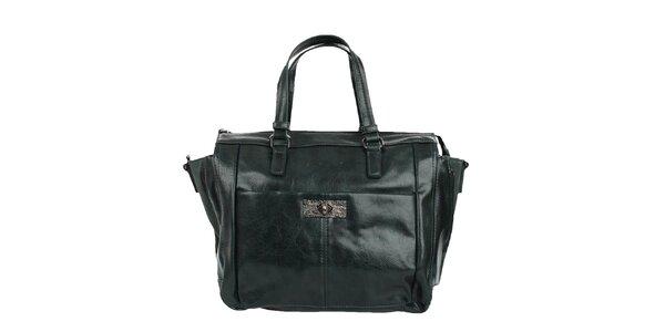 Dámska zelená lesklá kabelka Sisley so zipsami