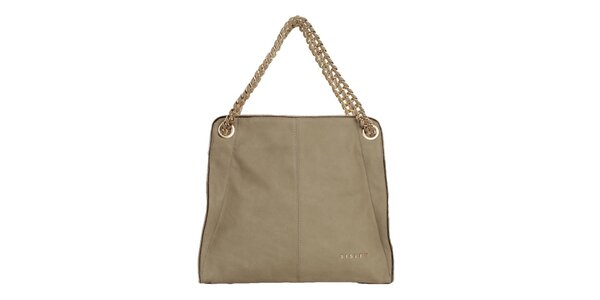 Dámska krémová kabelka s reťazou Sisley