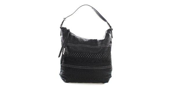 Dámska čierna kabelka s ozdobami Sisley