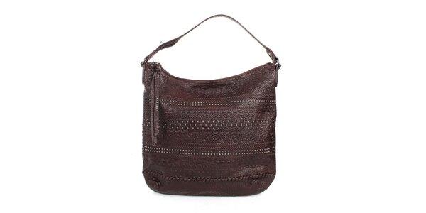 Dámska hnedá kabelka s ozdobami Sisley