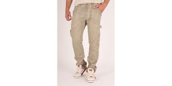 Pánske béžové ošúchané nohavice Pepe Jeans