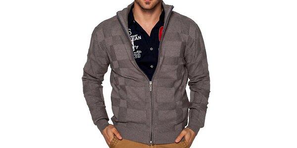 Pánsky šedo-hnedý sveter na zips Giorgio di Mare