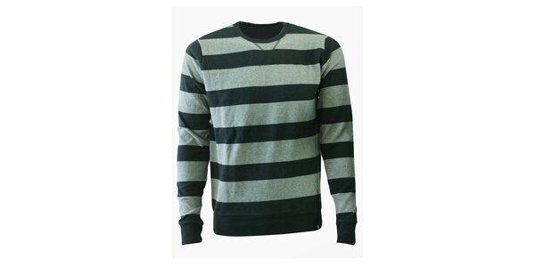 Pánsky šedý prúžkovaný sveter Fundango