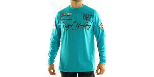 Pánske tyrkysové modré tričko Geographical Norway