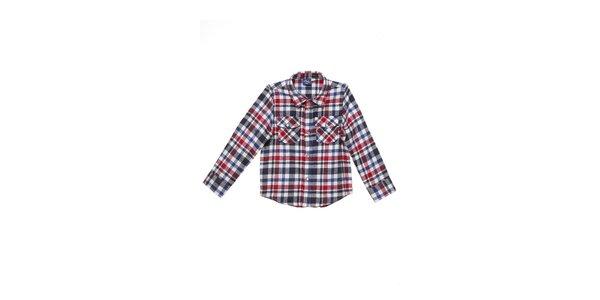 Detská červeno-modro-šedá kockovaná košeľa Buby
