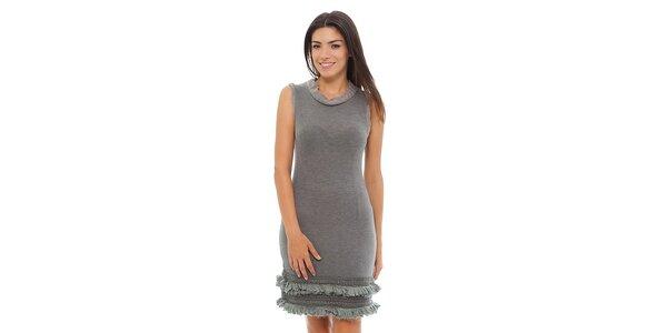 Dámske svetlo šedé melírované šaty Ada Gatti s volánikmi