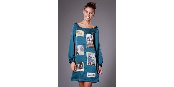 Dámske tyrkysové saténové šaty ByLu s potlačou