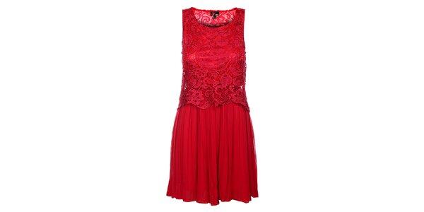 Dámske temno ružové čipkové šaty Yumi