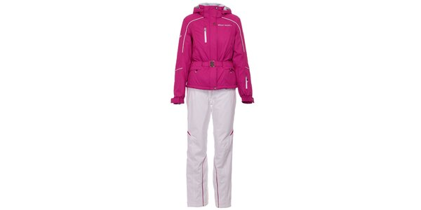 Dámska ružovo-biela lyžiarska súprava West Scout s membránou