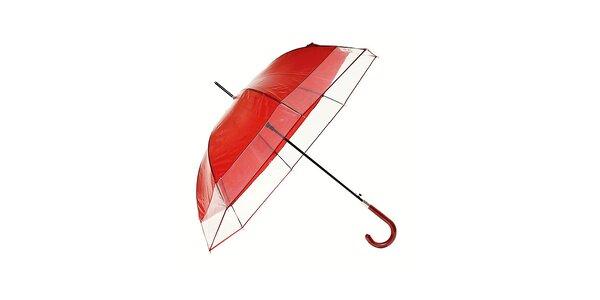 Dámsky tmavo červený dáždnik Ferré Milano s transparentným lemom