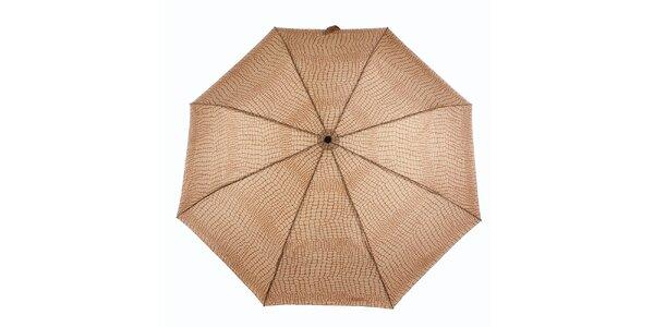 Dámsky karamelovo-hnedý dáždnik s krokodílím vzorom Ferré Milano
