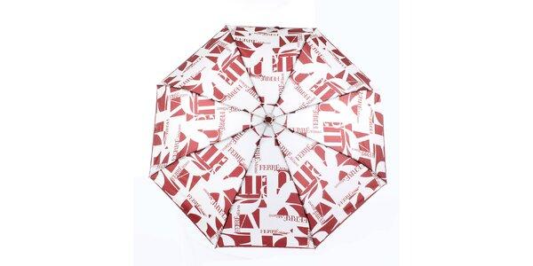 Dámsky červeno-biely vystreľovací dáždnik s logom Ferré Milano