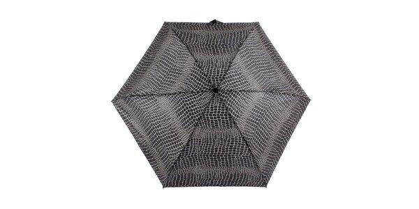 Dámsky šedo-čierny dáždnik s potlačou Ferré Milano