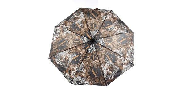 Dámsky hnedo-čierny dáždnik s dekoratívnym vzorom Ferré Milano