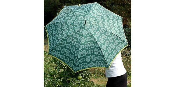 Dámsky zelený dáždnik Alvarez Romanelli s bielou vzorkou