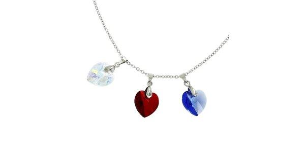 Dámsky náhrdelník s tromi srdiečkami Art de France