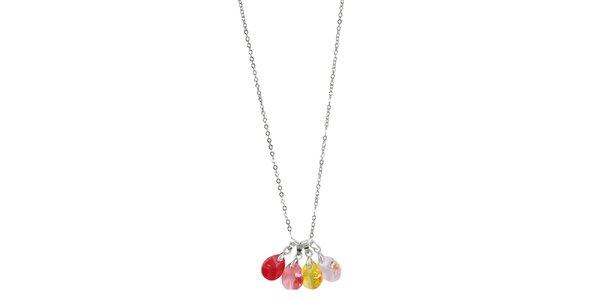 Dámsky náhrdelník so štyrmi farebnými Swarovski elementmi Art de France