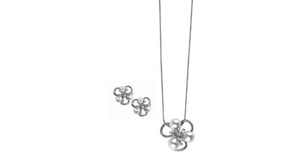 Dámske kvetinkové šperky s kamienkami Swarovski Elements - retiazka a náušnice…