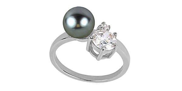Dámsky prsteň s perlou a kryštáľom Art de France