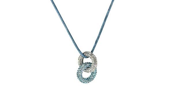 Dámsky modrý prstienkový náhrdelník s kryštáľmi Art de France