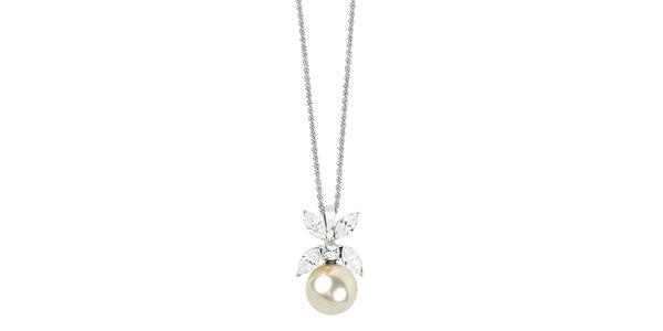 Dámsky náhrdelník s perlou a kryštáľmi Art de France