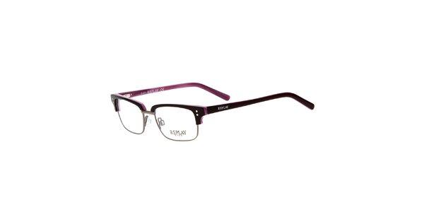 Pánske hranaté okuliare Replay s kontrastným vnútrajškom