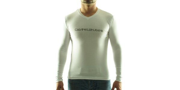 Pánske biele tričko Calvin Klein s kamienkami