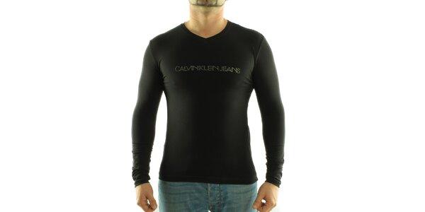 Pánske čierne tričko Calvin Klein s kamienkami
