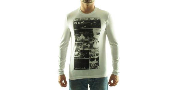 Pánske biele tričko Calvin Klein s foto potlačou
