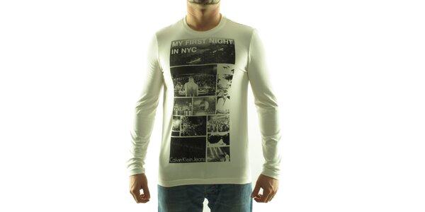 Pánske krémové tričko Calvin Klein s foto potlačou