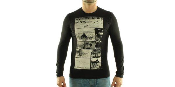 Pánske čierne tričko Calvin Klein s foto potlačou