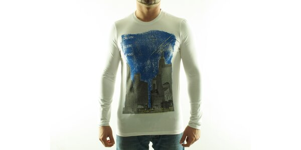 Pánske biele tričko Calvin Klein s farebnou potlačou
