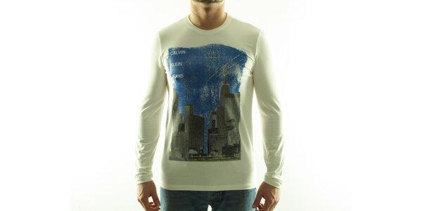 Pánske krémové tričko Calvin Klein s farebnou potlačou