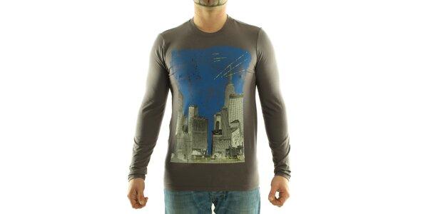 Pánske tmavo šedé tričko Calvin Klein s farebnou potlačou