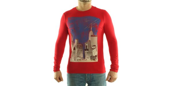 Pánske červené tričko Calvin Klein s farebnou potlačou