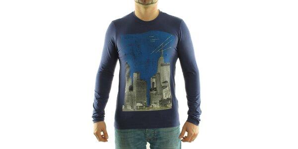 Pánske tmavo fialové tričko Calvin Klein s farebnou potlačou