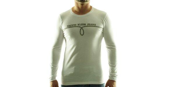 Pánske biele tričko Calvin Klein s šedivou potlačou