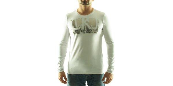 Pánske biele tričko Calvin Klein so striebornou potlačou