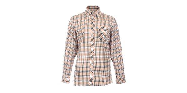 Pánska béžová košeľa s károvaným vzorom The Spirit of 69