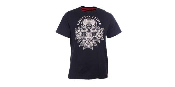 Pánske čierne tričko s lebkou Hardcore United