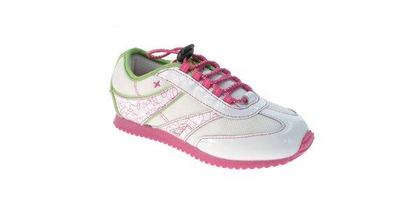 Detské biele tenisky s ružovou podrážkou Beppi