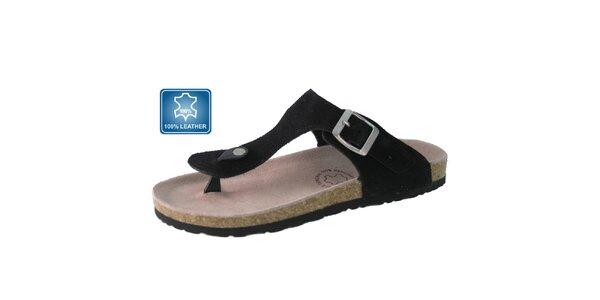 Dámske čierne kožené sandále Beppi