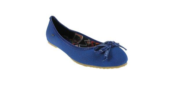 Dámske modré balerínky s mašličkou Beppi