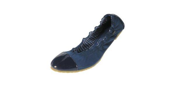 Dámske modré balerínky s lesklou špičkou Beppi